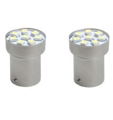 2 Ampoules LED BA15s G18 SMD 5050 Blanche 12V