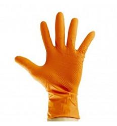 Gants de travail orange en nitrile taille L x 100