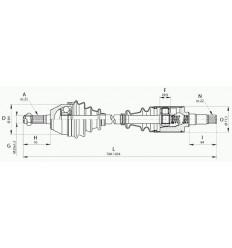 Cardan - arbre de transmistion droit Peugeot 106 Citroen Ax Saxo 1.4 i D 1.5 Diesel roue 4 trous