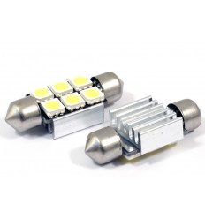 2 Ampoules Navettes à led effet Xenon c5w 37mm Ampoule Xenon